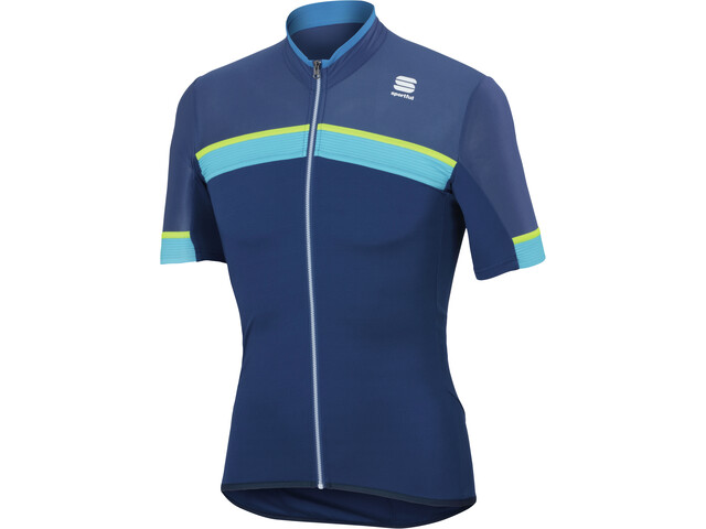 Sportful Pista SS Jersey Men blue twilight/electric blue/yellow